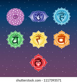 seven colorful chakras anahata ajna sahasrara muladhara swadhisthana manipura vishuddha on space blue and purple sky star symbol indian buddhism yoga hinduism raster copy.