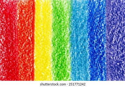 Seven crayon pencil colored paint strokes background