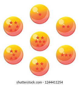 Seven Crystal Ball yellow with star on a white background.For decorate Dragonball Z or Dragonball GT and Dragonball Super style.