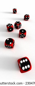 Seven dices on white surfaces (3D)