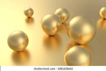 Seven Gold sphere ball on golden background with reflection. 3D rendering