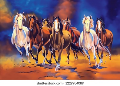 seven horse painting . Significance Of Seven Horse Painting In Vaastu Horses, specifically seven galloping horses, have a great significance in Vaastu. Horse, in Vaastu, symbolizes success and power.