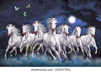 Seven Horses running at night wall art