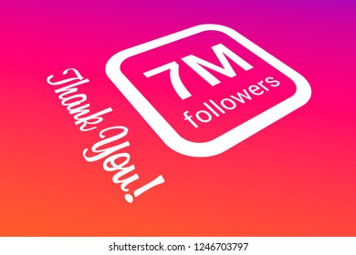 Seven Million Followers, 7000000, 7M, Thank You, Number, Colored Background, Concept Image, 3D Illustration