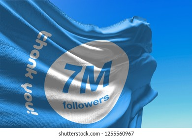 Seven Million Followers, 7000000, Flag Waving, 7M, Thank You, Number, Blue Background, Concept Image, 3D Illustration