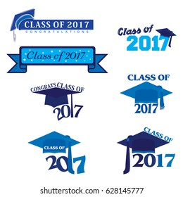 Seven mnemonics on Class of 2017 or Graduation Day in blue color