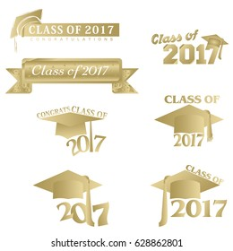 Seven mnemonics on Class of 2017 in gold on a white background