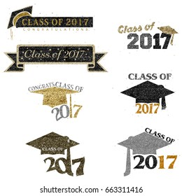 Seven mnemonics on Class of 2017 in glitter styles