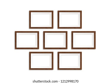 Seven photo frames collage isolated on white background, gallery style mock up, 3D illustration