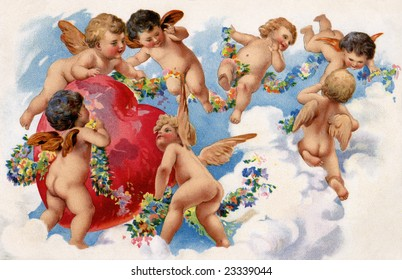 Seven playful angels hovering around a red Valentine heart in the clouds - a circa 1909 vintage illustration