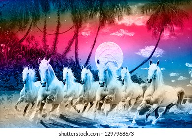 Seven Running horses in colorful background canvas texture oil painting