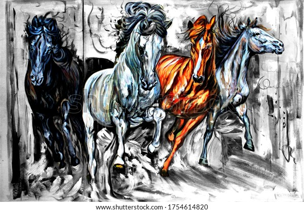 Running Horses textured abstract oil painting 3D wallpaper