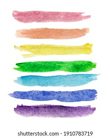 Seven watercolor rainbow colored lines isolated on white background. Hand-drawn brush strokes. LGBTQ concept