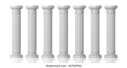 Seven white marble pillars of wisdom isolated on white background. 3d illustration