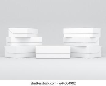 Seven white shoe boxes Mockup, 3d rendering