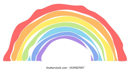 A seven-color rainbow, a real child's rainbow. For children's rooms, toys, prints, etc. Isolated on a white background