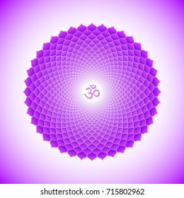 seventh crown Sahasrara one thousand petals lotus chakra with hinduism sanskrit seed mantra Om. Flat style violet symbol colored background for meditation, yoga and energy spiritual practices.