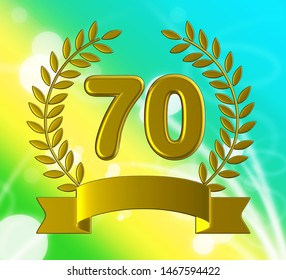 Seventieth anniversary celebration shows celebrations and greetings for marriage. 70th year of marriage congratulation - 3d illustration