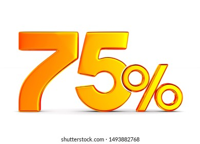 seventy five percent on white background. Isolated 3D illustration