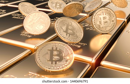 several bitcoin motes on gold bars, cryptocurrency and virtual finance concept. 3d image render