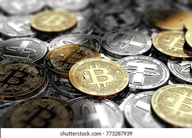 Several Bitcoins laying on stack of silver Tether coins. Bitcoin connection to Tether concept. 3D rendering