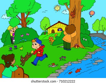 Several children playing hide and seek in the countryside, one of them in on wheelchair illustration.