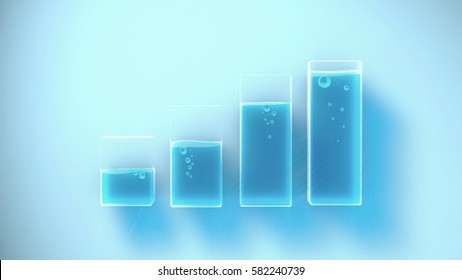 Several containers with different liquid levels. Concept illustration. 3d rendering.