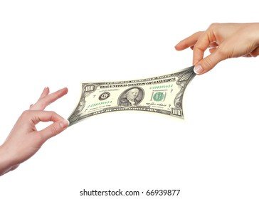Several hands stretch of banknotes in different directions. Concept.