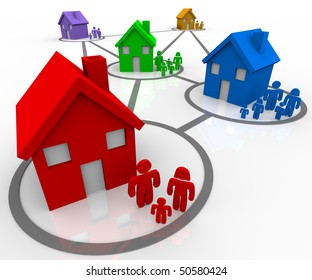Several homes and families in connected neighborhoods