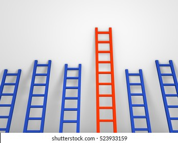 Several ladders with different length leaning against the wall. 3d rendering.