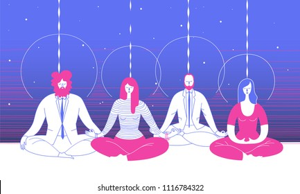 Several office workers in smart clothing sit in yoga position and meditate against abstract blue background. Concept of business meditation and team building activity. Illustration for poster