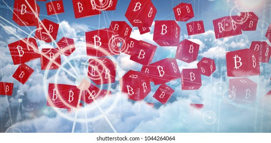 Several red cube with bit coin sign on each side against binary codes and lines