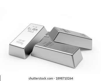 Several silver bars isolated on a white background. 3d illustration
