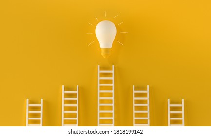 Several stairs and one of these leads to a Glowing light bulb on yellow background. Winner, startup, inspiration, brainstorming concept. 3D rendering.