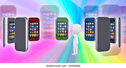 Several touchscreen smartphone on a colorful background. 3d person chooses