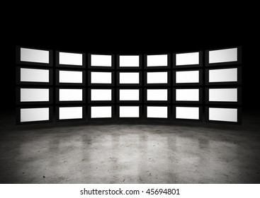 Several TVs with blank space. Large image resolution
