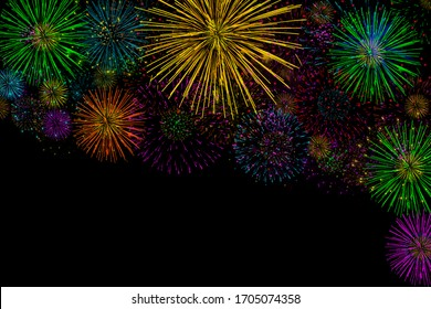 Several types of colorful fireworks of various portions on a black background illustration.