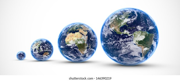 Several worlds aligned and isolated on white background