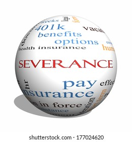Severance 3D sphere Word Cloud Concept with great terms such as pay, package, hr, benefits and more.