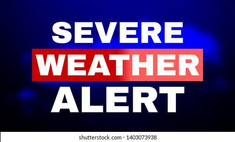 Severe Weather Alert. Image for Article, Post, Website. Warning caution danger notification. White text on blue background with dark clouds and drops of rain. Communication and risk concept.