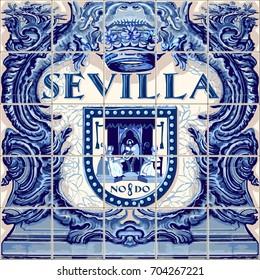 Seville Spanish ceramic tiles Spain symbol lapis blue illustration