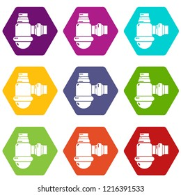 Sewage siphon icons 9 set coloful isolated on white for web