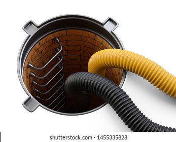 Sewer hatch with open lid manhole hole cover and big crimped suction hoses for waste disposal. 3d illustration isolated over white background.