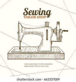 Sewing Machine Banner Card Tailor Shop for Your Business Hand Draw Sketch. Equipment of a Dressmaker or Seamstress. illustration