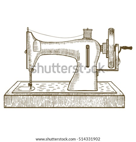 Sewing Machine Hand Draw Sketch Your Stock Illustration 40 Extraordinary Sewing Machine Photo