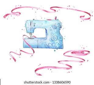 Sewing machine and ribbons watercolor illustration