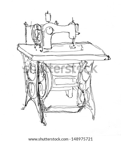 Sewing Machine Sketch Hand Drawing Isolated Stock Illustration