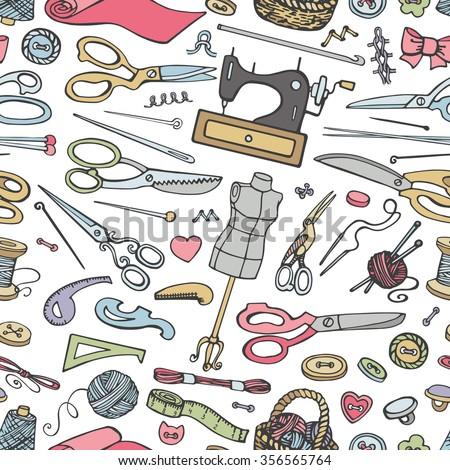 Sewing Needlework Doodle Seamless Pattern Vintage Colored Stock ...