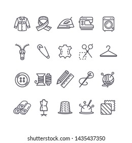 Sewing and Needlework Tool Black Thin Line Icon Set Include of Cloth, Iron, Pin and Button. illustration