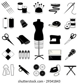 Sewing, Tailoring, Needlework Icons: fashion model, needle, thread, machine, ribbon, patterns, buttons, thimble, pincushion, sewing label, scissors. For do it yourself textile arts and crafts.